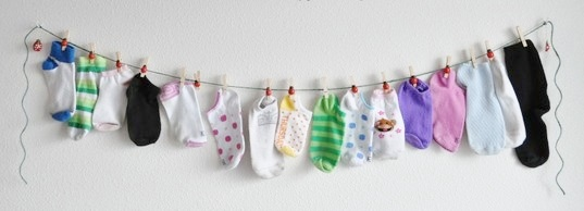 Laundry Room Sock Art Idea