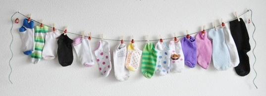 Laundry Room Sock Art Idea