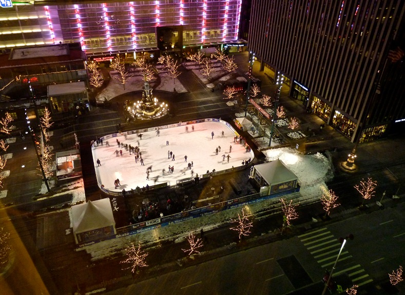Aerial View Of The Us Bank Ice Rink On Fountain Square